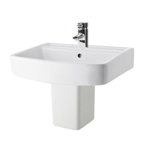 Euro 520mm Basin & Semi Pedestal - 1 Tap Hole